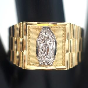Other - NEW Solid Gold Virgen Guadalupe Ring for Men